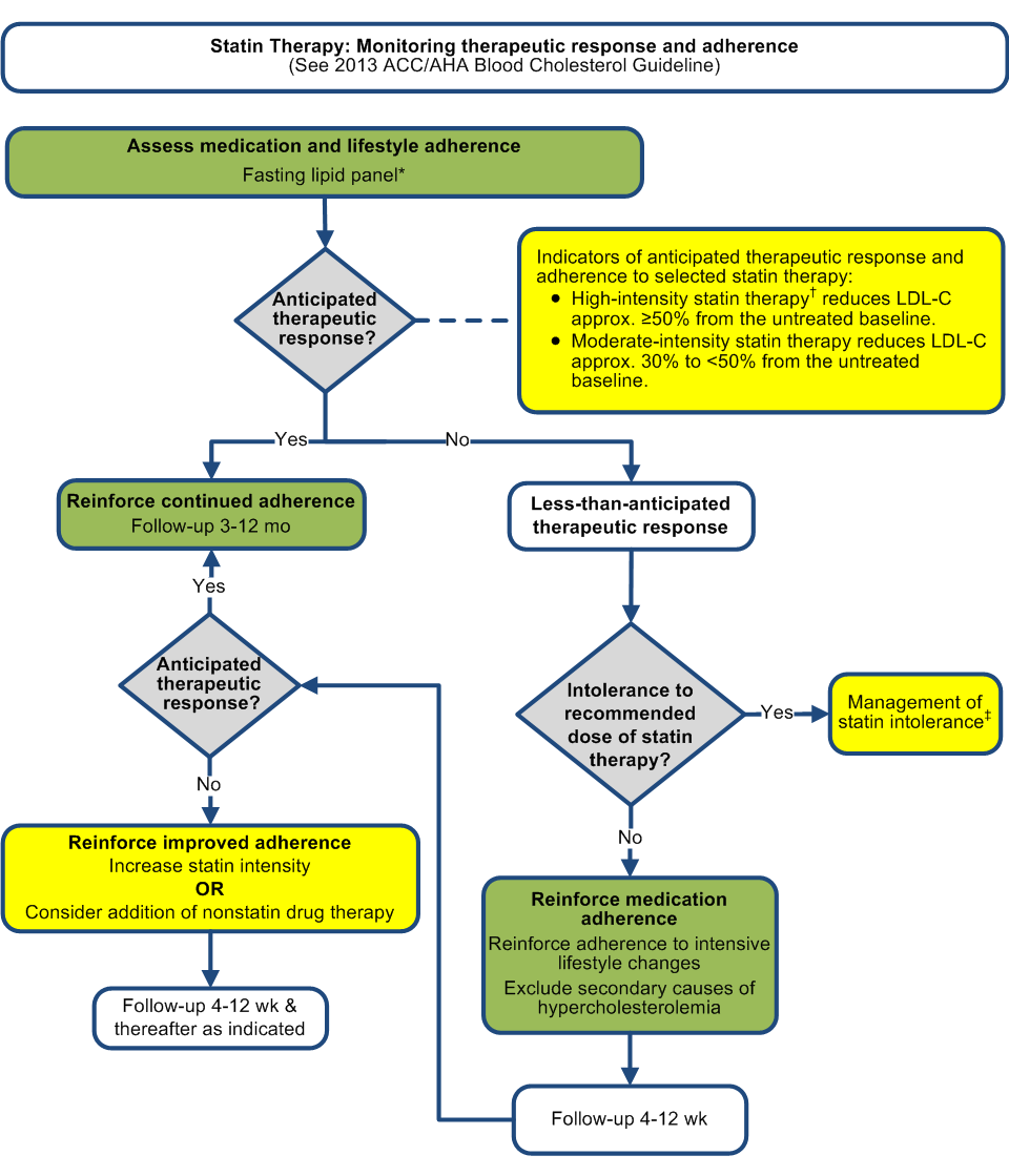 Statin intolerance recommendations to monitor response to statin therapy statin monitor flowchart nvjuhfo Images